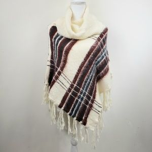 Wooden Ships Anthropologie Cowl neck tassle poncho